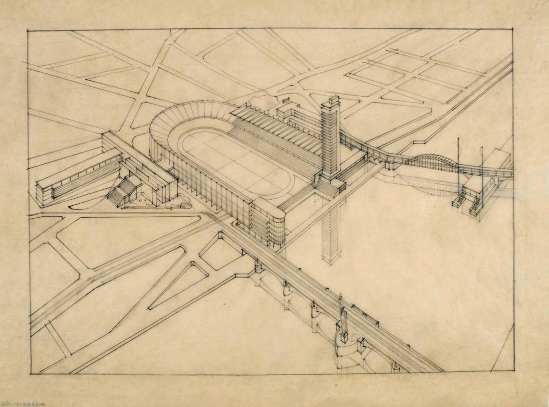 Stade Paris XVI, Perspective, 1937