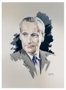 Portrait de Robert Mallet-Stevens par son ami architecte Édouard Menkes.